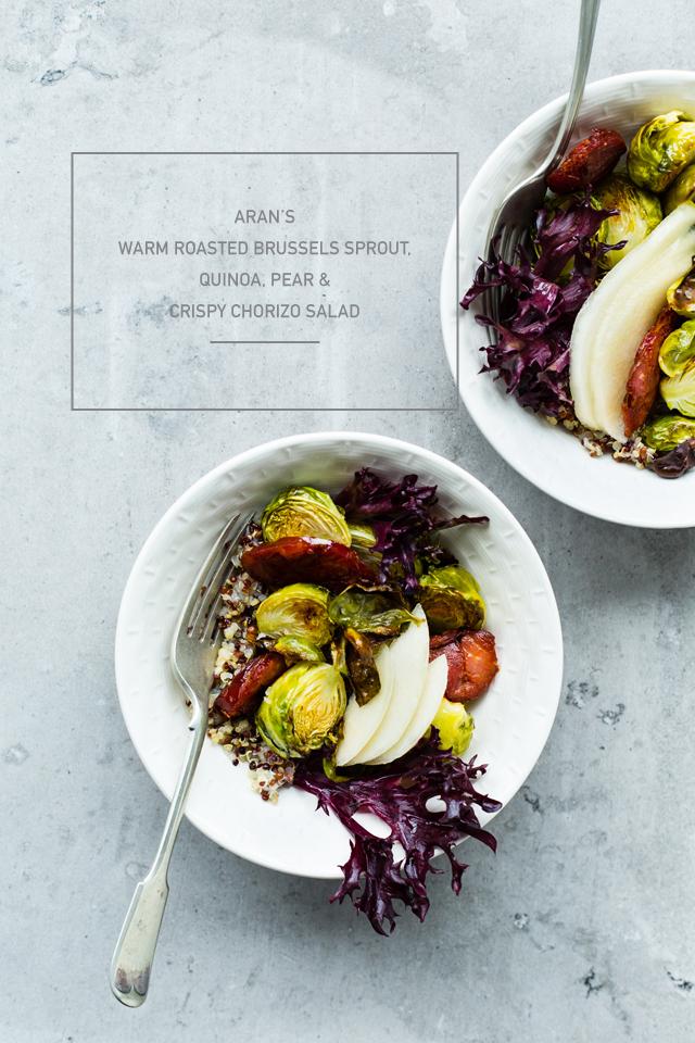 ... Warm Roasted Brussels Sprout Quinoa Salad, Pear & Crispy Chorizo Salad